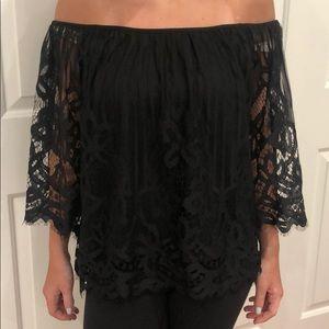LeShop gorgeous black lacy top M